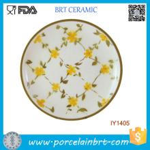 Elegant Little Yellow Flowers Ceramic Dinner Plate
