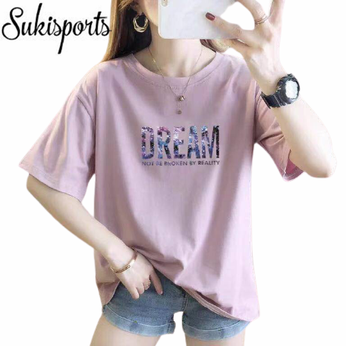 Womens Cute Printed Short Sleeved Cotton T Shirt 6