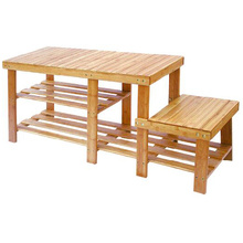 Durable bamboo 3-tier hallway shoe rack bench