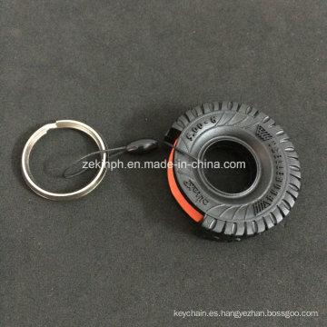 Llavero de goma 3D de la forma del neumático del coche para el regalo promocional del coche