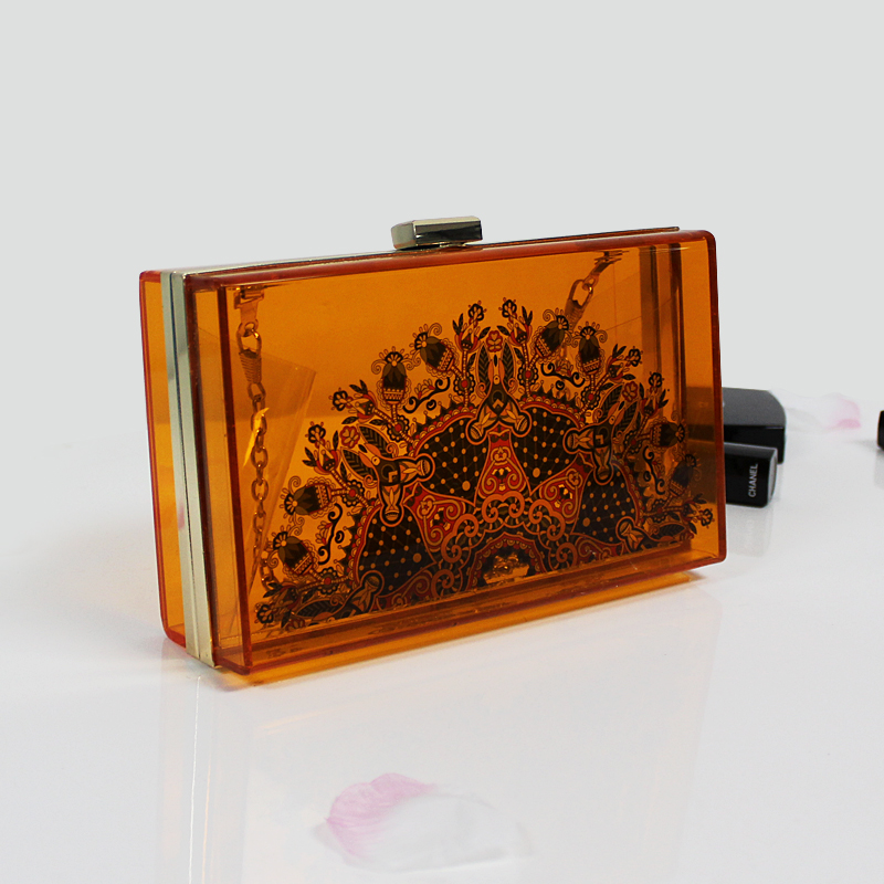 Customised Printng Acrylic Resin Box Clutch Bag