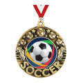 Crown Fußball-Medaille mit antikem Gold-Finish