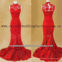 Vintage high collar real mermaid red lace prom dress CWFg