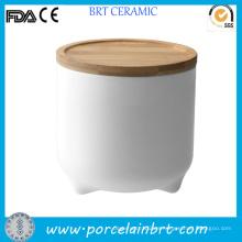 Blanco Ceramic Cute diseño Almacenar jarra de Cookie
