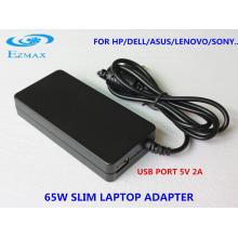 YH-8003 65W Adaptador de corrente Slim adaptador de viagem Adaptador para laptop