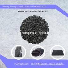 O ar purifica o filtro granulado da espuma da esponja do carbono do coco material do filtro