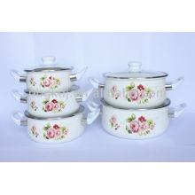 enamel casserole sets with glass lid & bakelite knob