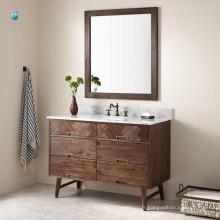 48 '' prix d'usine en gros meubles en bois naturel unique lavabo bassin plancher montage salle de bains vanité