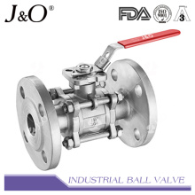 Válvula de esfera de extremidade flangeada 3PC com almofada DIN Pn16 Pn40