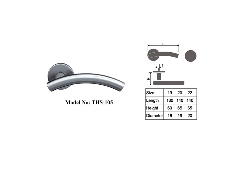 Sprung Shape Stainless Steel Lever Handles B