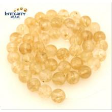 Synthetic Quartz Stone Size 6 8 10 12mm Yellow Imitation Crystal Beads