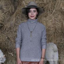 Meilleure vente produit femmes pull col haut pull en cachemire avec la meilleure qualité