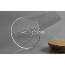 Hot sale tea glass Jar with wood Lid,canist Food-grade Plastic Seal