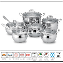 12 PCS Stainless Steel Belly Shape Cookware Set