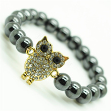 Hematite 8MM Round Beads Stretch Gemstone Bracelet with Diamante alloy Owl Piece