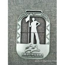 Medalhas de liga de zinco personalizadas com fita para prêmios de competição
