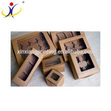 Hot sell cheap wholesale kraft foldable paper box,food grade paper cake box