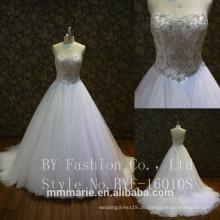 Luxus volle Perlen Hochzeitskleid lange Ärmel Puffy 2017 Kristall Ballkleid Brautkleid