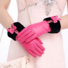 Lady Fashion Faux Fur Cuff Sheepskin Leather Dress Gloves (YKY5209-1)
