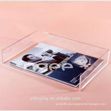 Maßgeschneiderte klaren Acryl Buch Display Tablett für Schule und Büro