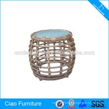 Круглые плетеная мебель чайный столик