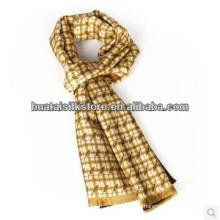 Corbata de seda de doble capa Self fringe bufanda de hombre de seda