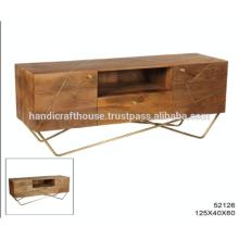 Inlay de latón industrial en madera de Mango y patas de metal con soporte de TV de almacenamiento