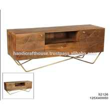 Industrial Brass Inlay in Mango Wood and metal legs with Storage TV Stand