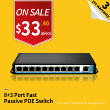 Fast ethernet 100M 250 meters 24v passive 8 port poe switch injector