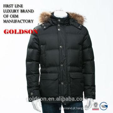 Marca de luxo Homens Vestuário Raccoon Fur Down Jacket Feather Shaoxing Fabricante