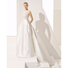 Elegant Beading Lace Top with Pocket Satin Bridal Gown Wedding Dress