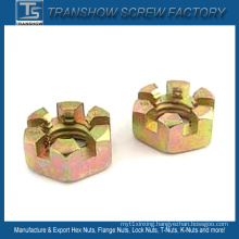 Yellow Galvanized Steel DIN937 Slotted Hex Nut