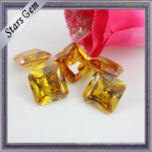 Glamour Bright Yellow Princess Octagon CZ piedras preciosas