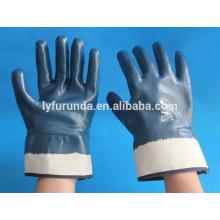Gants industriels en vrac nirtril anti-huile coton tissé entrelacé doublé entièrement nitrure bleu recouvert avec manchette de sécurité