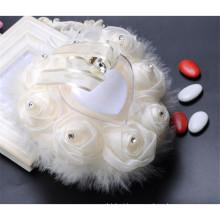 Elegante de alta qualidade beading bela casamento decoração almofada de suporte de anel