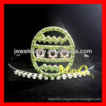 Halloween green rhinestone egg pageant crown