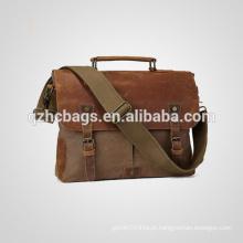 Bolsa de couro do mensageiro do saco do mensageiro do couro da lona