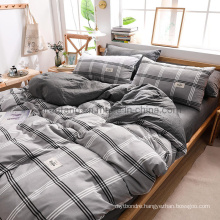 Wholesale Homestay 3 PCS Double Bed New Product Cotton Bedding Light Grey Plaid
