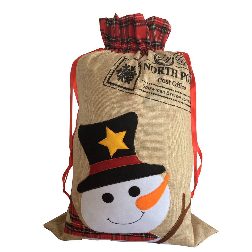 Christmas Burlap Sack With Snowman Pattern