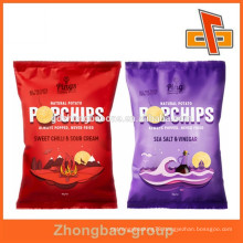 laminated plastic snack packaging bag with back sealed