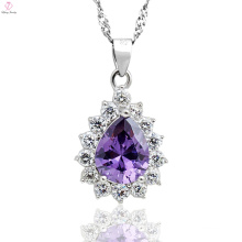 Custom Silver Purple Crystal Dorp Pendant Necklace