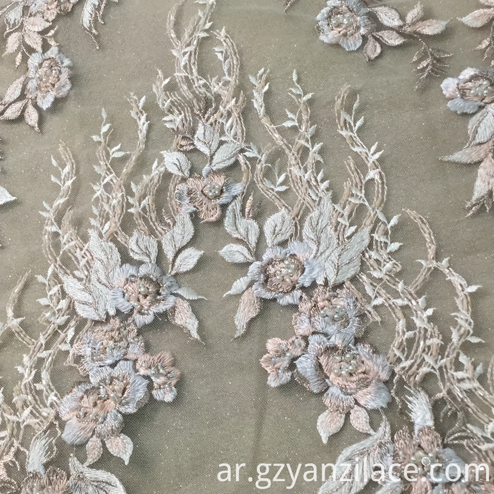 Classical Light Blue Handwork Beaded Embroidery Fabric