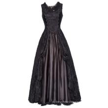 Belle Poque Retro Vintage Gothic Victorian Style Sleeveless U-Neck Lace & Satin Dress BP000378-1