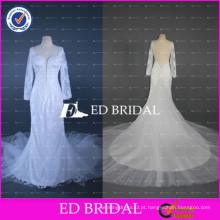 ED Bridal Sexy Backless Lace Appliqued Andar de comprimento vestido de casamento sereia com mangas 2017