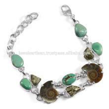 Últimas Design Turquesa Amonite Pyarite Multi Gemstone 925 Silver Handmade Link Chain Bracelet Masculino