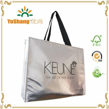 Metallic Gold or Silver Laser Coating Non Woven Eco Bag