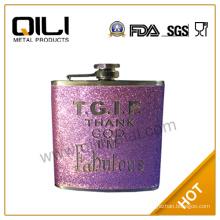 Embossing on leather hip flask vacuum flask Leather Flask purple Flask