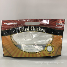 Logo Printing Clear Window Fried Chicken Packaging Bag Plastic Bag with Handle