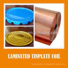 Film PET fer-blanc laminé vernis bobine pour emballage métallique