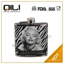 6oz hot sale leather wrapped hot transfer stainless steel popular luxury antique hip flasks